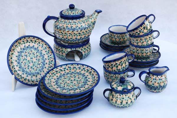 tea service for six person - polish pottery on www.tujestmojemiejsce.pl