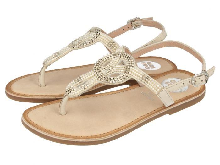 Gopi / Sandalias blancas de niña con detalles brillantes en la tira y sujección al tobillo