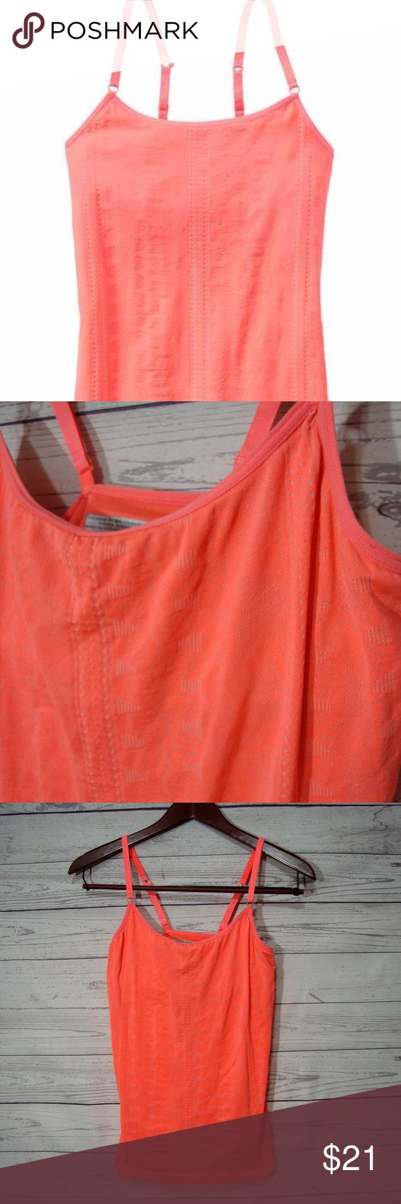 Athleta Free To Breathe Seamless Cami Top Coral From Athleta  Size S  Shelf bra  Color: bright pink/coral color  Gently used  From a smoke free and pet friendly home Athleta Tops Camisoles
