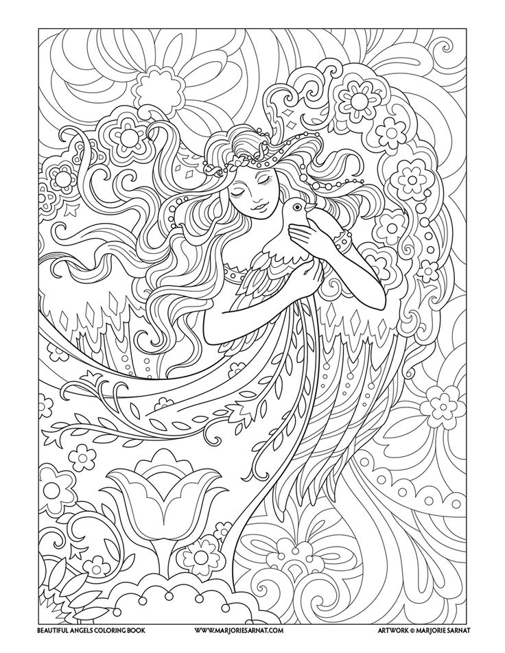 angel with dove beautiful angels coloring book - Coloring Pages Beautiful Angels