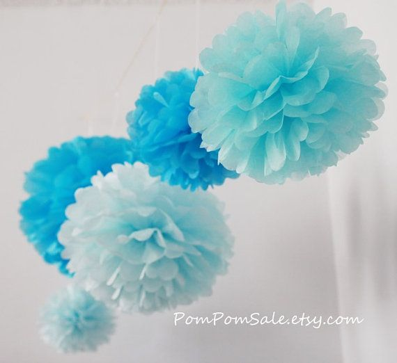 5 Medium 13'' Tissue Paper Pom Poms - Custom Colors - for Baby Shower / Baptism / Birthday / Wedding Party Decoration - Fast Shipping