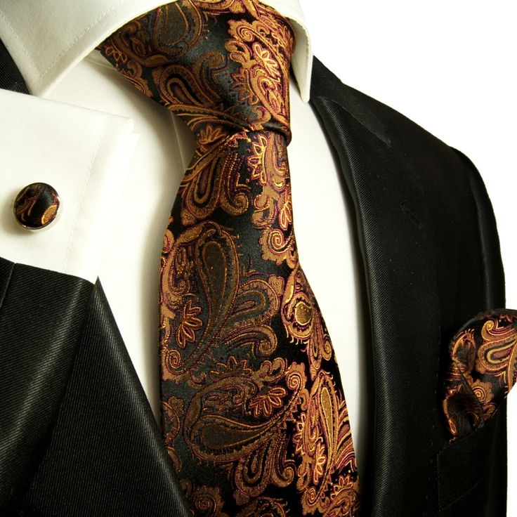 Paul Malone Silk Tie Set - Bronze Paisley (630CH)