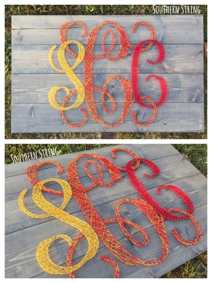 Monogramed string art.  Personalized, custom.
