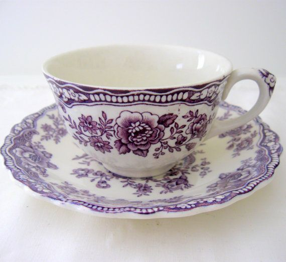 Gorgeous purple and white teacup and saucer! - Crown Ducal Bristol England Mulberry Cup and by Somethingcharming found on Etsy.com