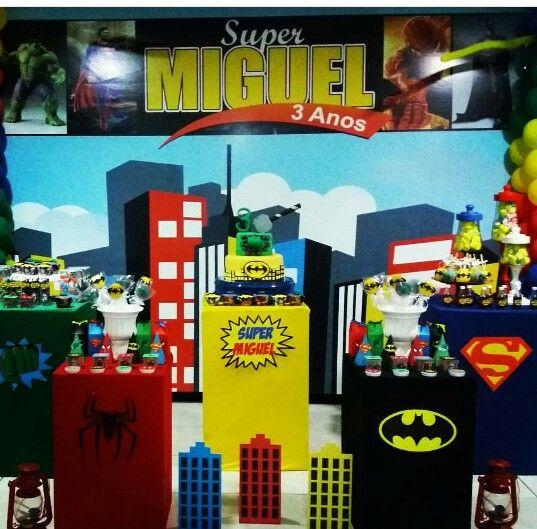 Столы для дня рождения мальчика супергерой