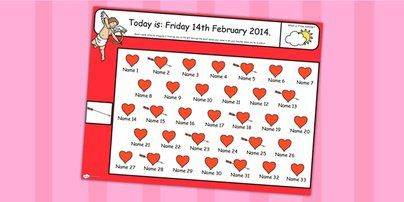 Twinkl Resources >> Valentines Day Themed Self Registration Flipchart>> Classroom printables for Pre-School, Kindergarten, Primary School and beyond! valentines,