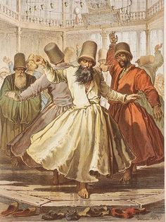 These were men in the court dancing, the were mostly just spinning around looking above with one hand up and one hand down.