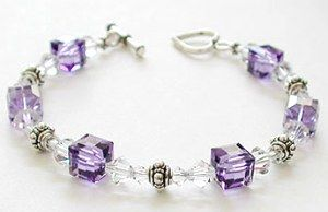 Tanzanite Beauty Bracelet featuring Swarovski crystal beads - Look for project #27 on our Swarovski Design Idea Page for all the details and materials list. This design is also available as a kit!