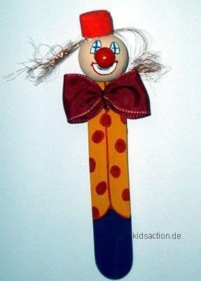 Lesezeichen Clown Bastelspachtel