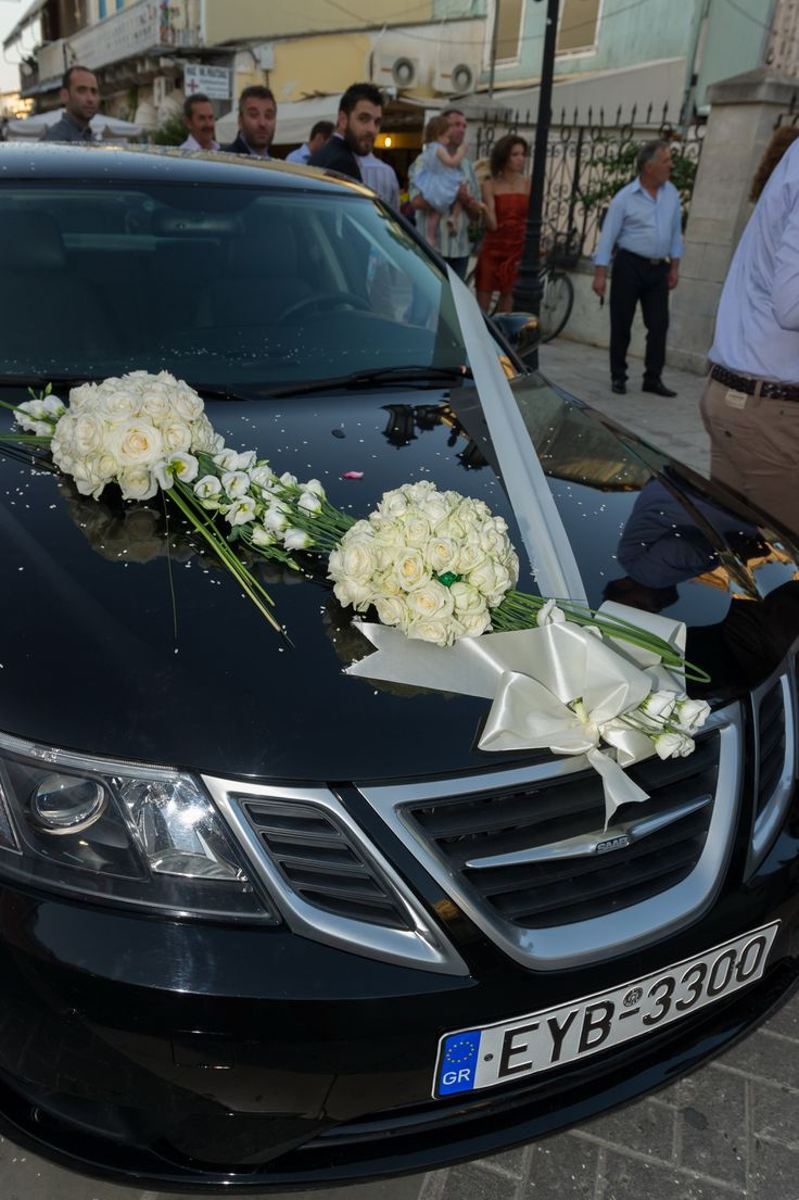 wedding car decoration with white roses