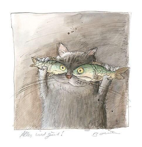 .A través de Peggy Kuchler fish eyes , cute , whimsical, funny surreal childrens watercolour book cartoon illustration cat painting prin