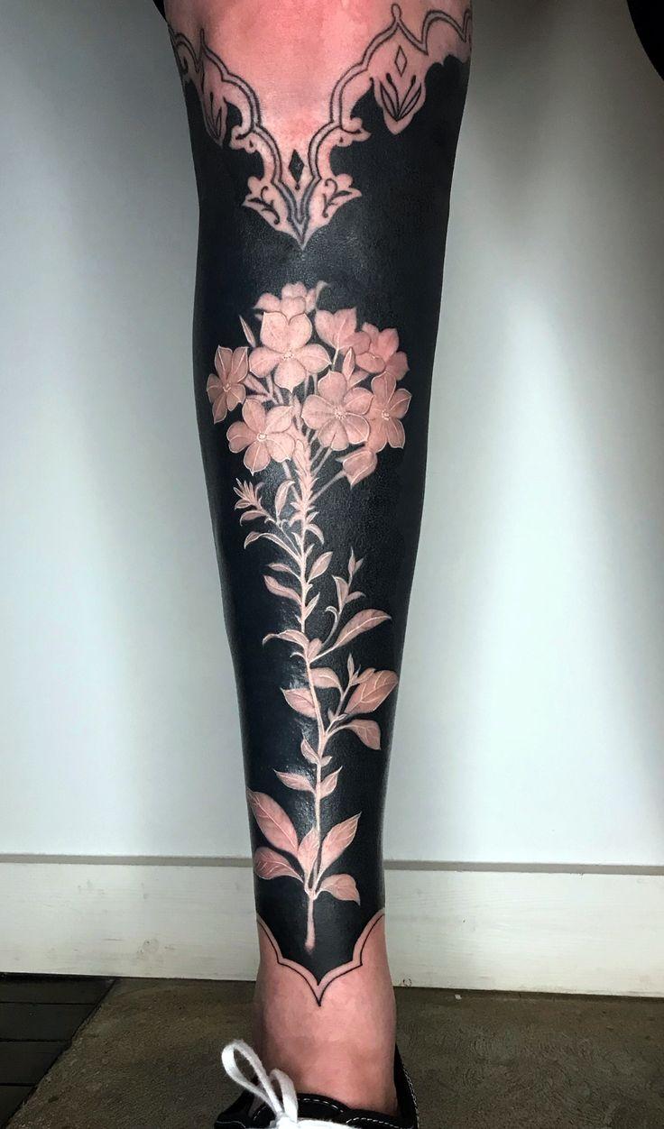 Art solid black tattoo botanical tattoo full sleeve