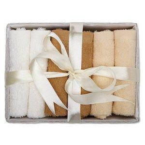 Conjunto de 6 toallas faciales 100% algodón y presentadas en una cesta.