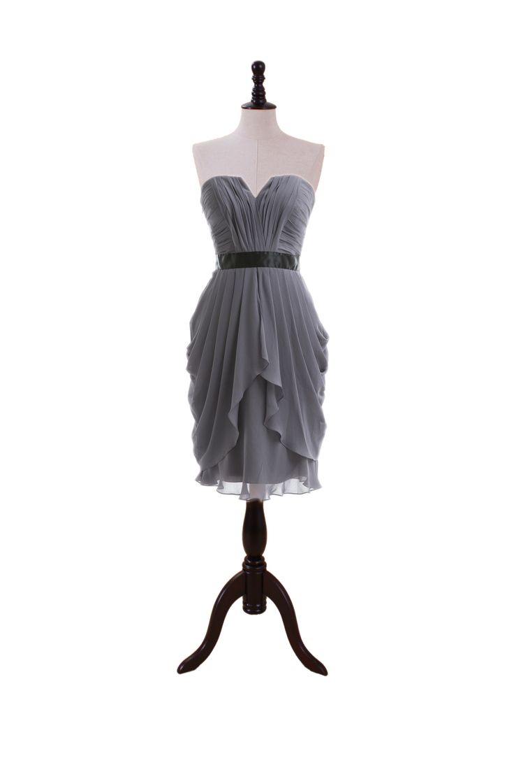 Strapless Chiffon Dress with Dipped V Bodice. Great bridesmaids' dresses - if it was in a different color!
