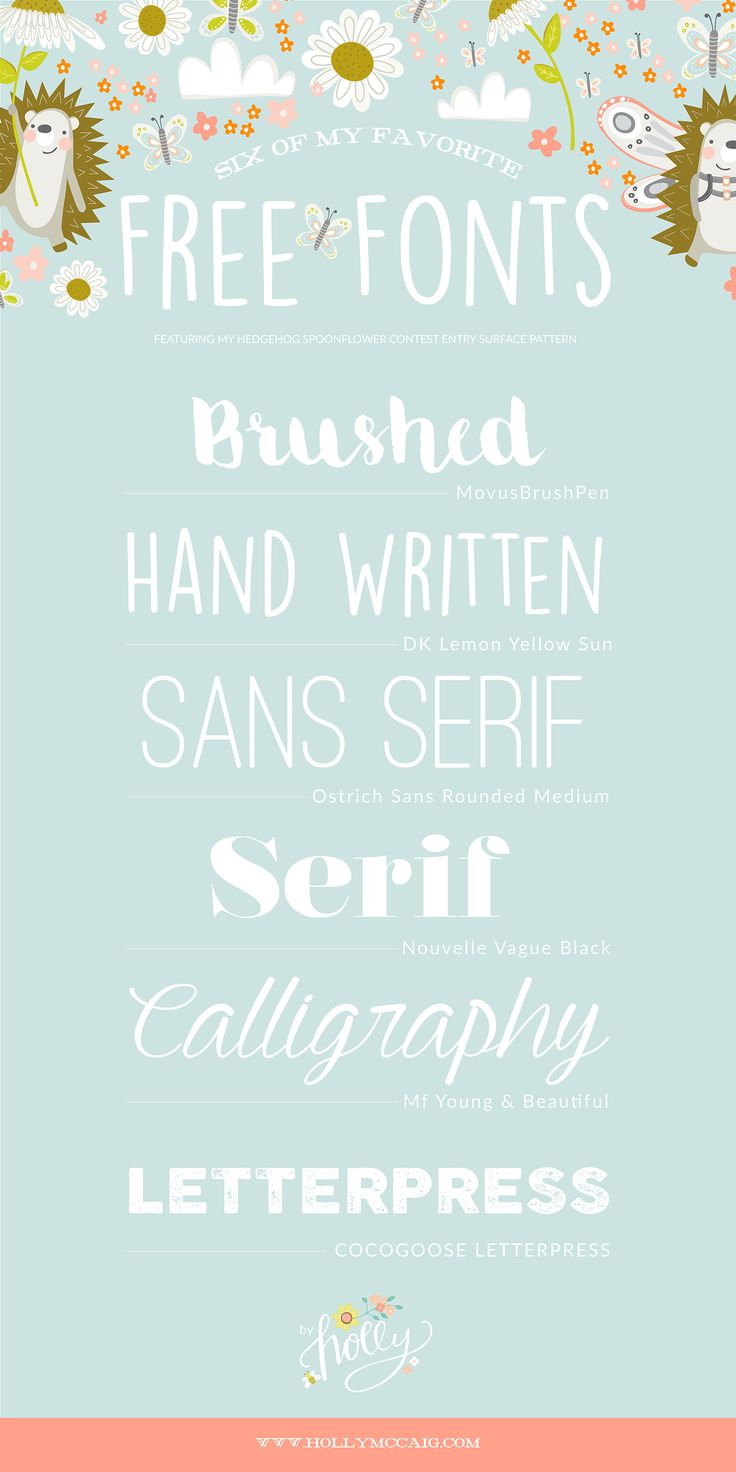 My Favorite Free Fonts by Surface Pattern Designer Holly McCaig