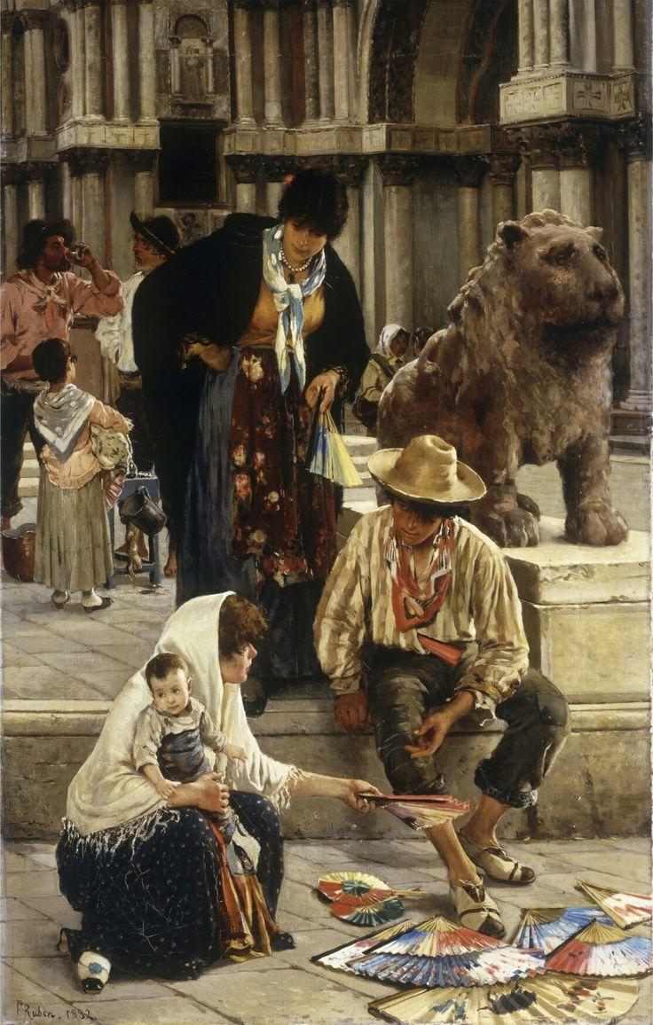 The Fan Seller, 1882 Painting By Franz Leo Ruben, German, 1842  1920