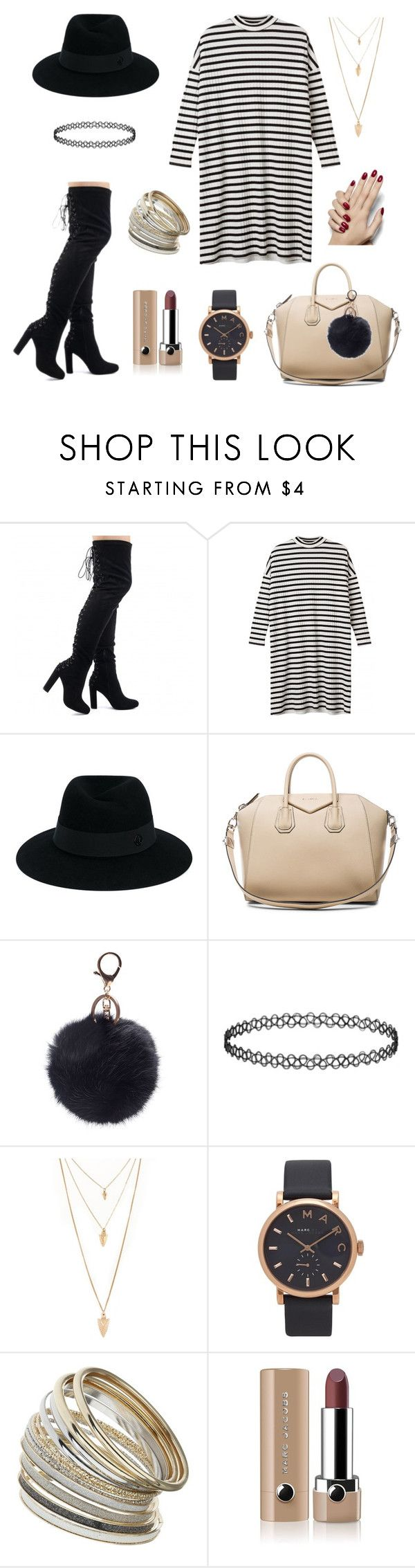 """""""Cashual yet classy look. Fur pom available on styleloft.dk"""" by shop-styleloft on Polyvore featuring Monki, Maison Michel, Givenchy, Forever 21, Marc by Marc Jacobs, Miss Selfridge and Marc Jacobs"""
