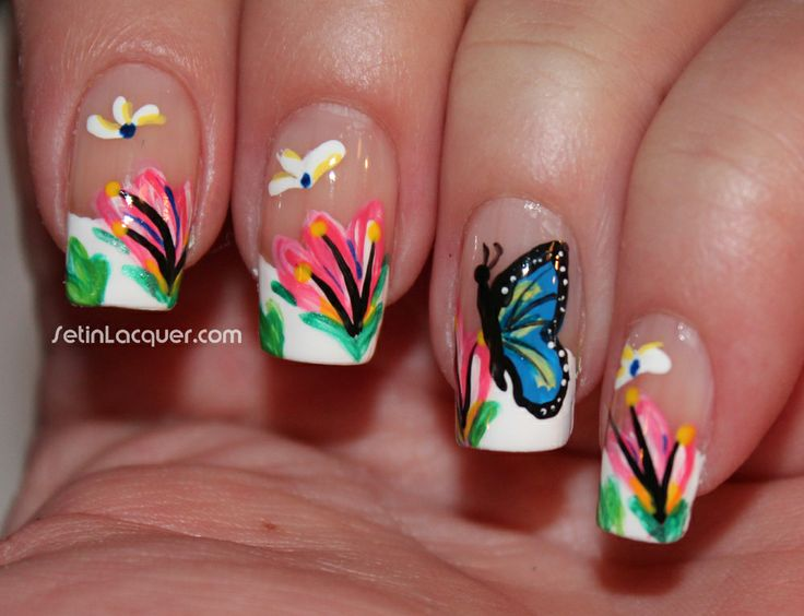 16 best acrylic paint nail design images on pinterest make up a wonderful looking butterfly inspired nail art depicting butterflies hovering atop flowers in the field white polish with pink flowers are painted in prinsesfo Choice Image
