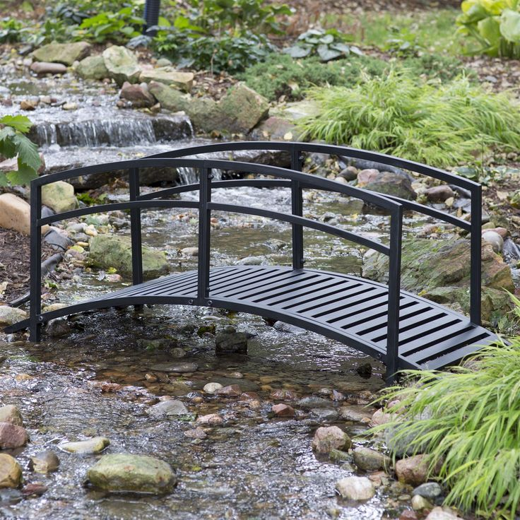 Sturdy 6 Foot Black Metal Garden Bridge With Double Arch Side Rails