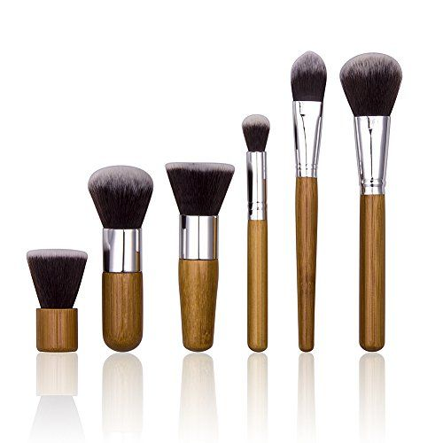 nice 6 pcs Wood Handle Makeup Cosmetic Eyeshadow Foundation Concealer Brush Set Pouch