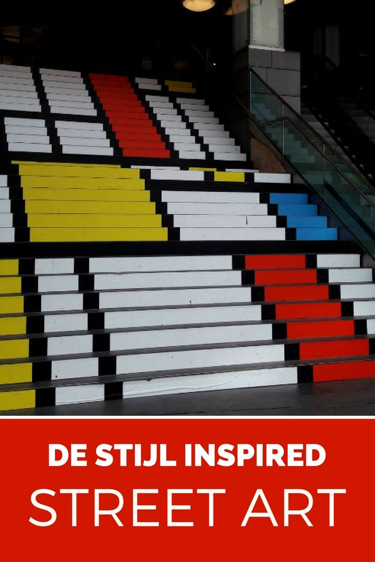 De Stijl inspired street art. Steps at Spui in The Hague, The Netherlands
