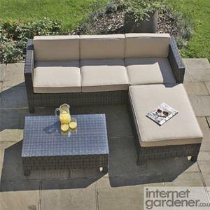 The Maze Rattan LA Corner Sofa is a smaller rattan corner sofa designed for the more compact garden.