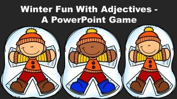 "This ""winter fun"" themed game introduces and reviews the concept of basic adjectives. It explains to the students that adjectives are describing words that answer the questions, ""What kind?"" ""Which one?"" ""How many?"""