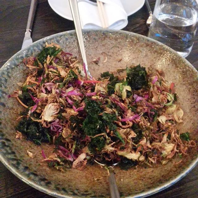 This salad from @eokitchen was fantastic. I could have eaten two big bowls of it. Crispy #kale, and #brusselsprouts thinly shaved #serrano peppers. I'll be dreaming about this one tonight. Thank you sister!  #birthdaydinner #freshfood #celebration #35 #momandsisternightout #vegetables #vegetarian #eokitchen #eokitchenandbar #hydepark #cincinnati #cincyfinds #cincyeats #myfab5