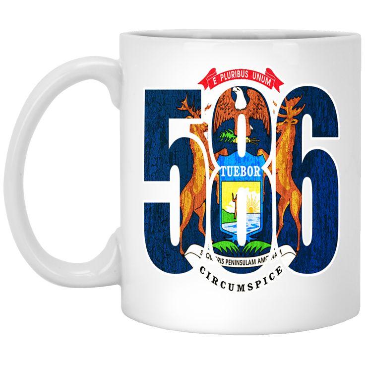 586 MICHIGAN AREA CODE FLAG XP8434 11 oz. White Mug