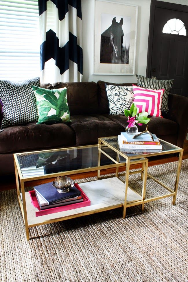 To go in front of the little couch - 10 Times Gold Spray Paint Made Ikea Products Even Better