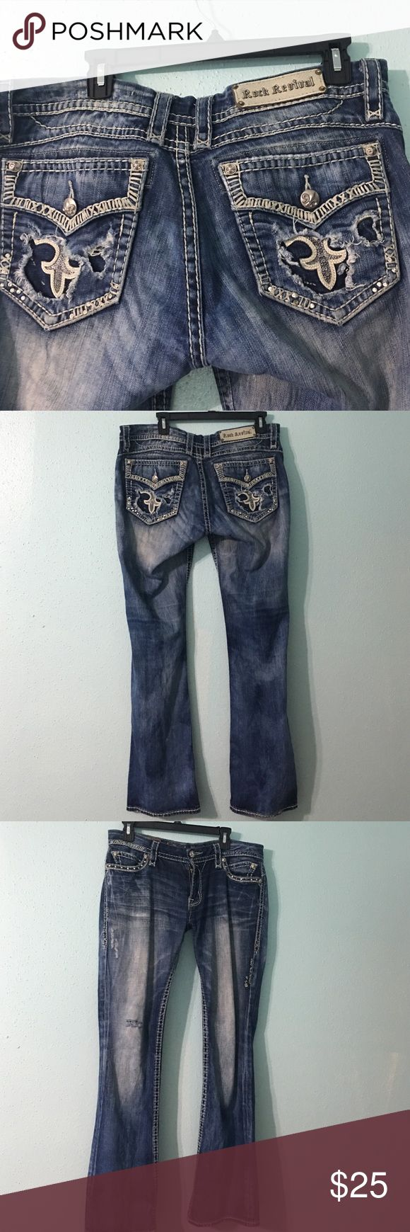 Rock revival jeans Rock revival jeans. These jeans are very worn that's why they are so cheap. When your wearing them you can't notice they have been patched. The inseam is 32 inches and so is the size. Rock Revival Jeans Boot Cut