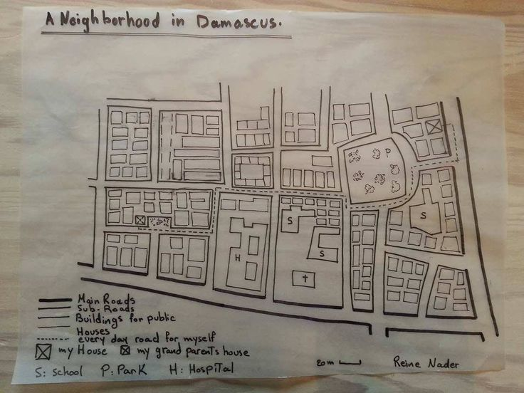 Week 1. A Neighborhood in Damascus: My name is Reine Nader, I am from Damascus, Syria. This is the map of the neighborhood I grew up in. I chose to draw on the base of other map. I am an Architect and Urban Designer. In 2013, I obtained a BSc. in Architecture from Damascus University, Syria. In 2016, I graduated from Edinburgh University with an MSc in Urban Strategies and Design.