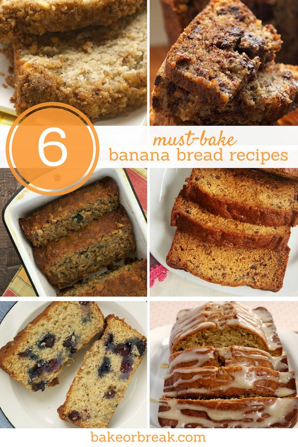 These 6 banana bread recipes are such tasty twists on classic banana bread. With delicious add-ins and toppings, one of these recipes may just become your new favorite! - Bake or Break ~ http://www.bakeorbreak.com