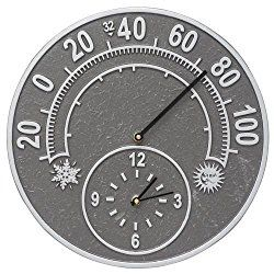 Whitehall Solstice Outdoor Clock & Thermometer 14″ Diameter