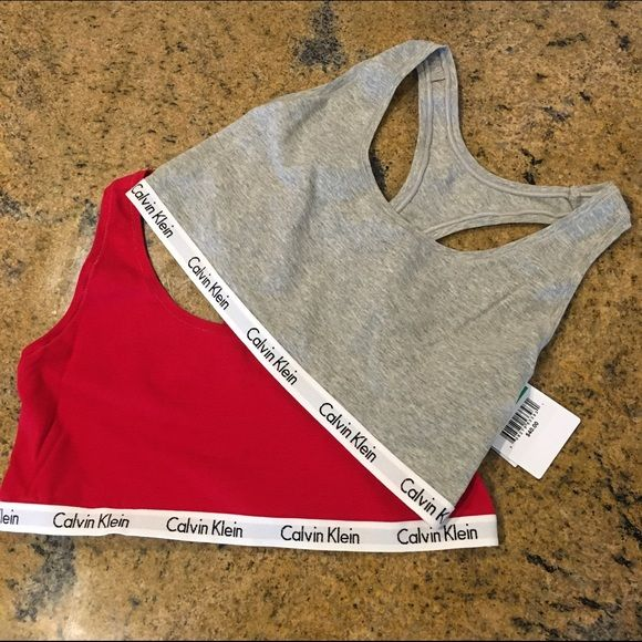 2 CK Bralettes ▪️Two CK Bralettes  ▪️Brand new with tags, never worn. ▪️(1) Red & (1) Gray ▪️Size: Medium & large available  ❣Price is firm, no trades   ✨More CK underwear in my closet!✨   Bra bras sports bra Calvin Klein Intimates & Sleepwear Bras