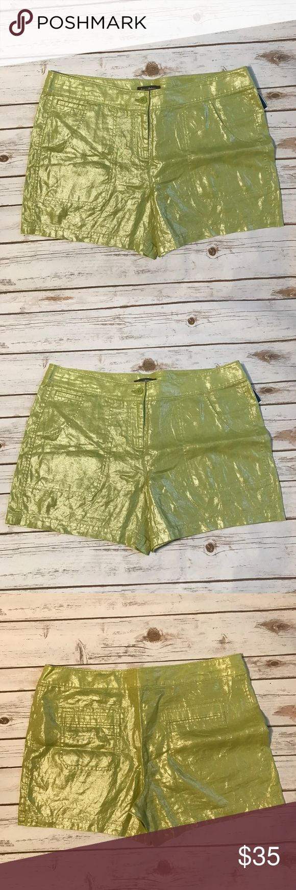 "Tommy Bahamas Metallic Green Shorts NWT Tommy Bahamas metallic lime green shorts size 10. No rips or stains. Measurements for flat lay: waist 48"" outseam 15.5"" inseam 5"" rise 11"" Tommy Bahama Shorts"