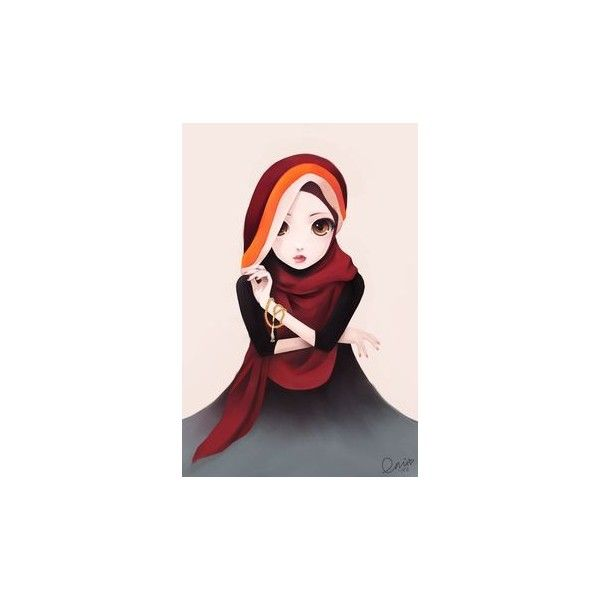 Hijabi Muslimah With Anime Style Eyes ❤ liked on Polyvore featuring hijab