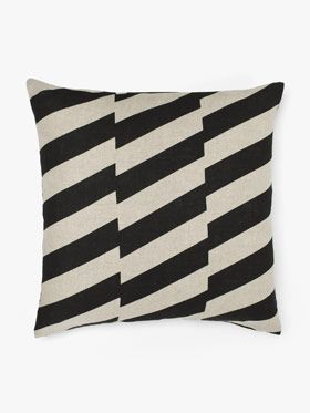 Staggered cushion in black by Aura, available at Forty Winks.
