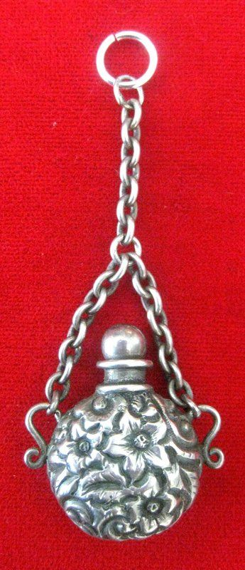 Victorian Sterling Silver Perfume Bottle Pendant