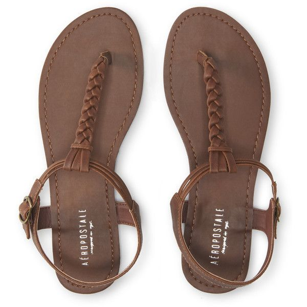 Aeropostale Solid Braided T-Strap Sandal ($15) ❤ liked on Polyvore featuring shoes, sandals, sapatos, brown, flats, brown shoes, flat shoes, t strap flats, brown braided sandals and t strap sandals