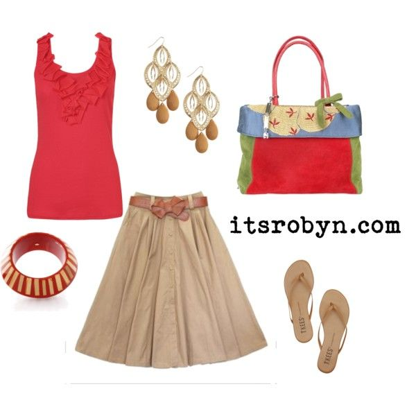 """Great lunch with girlfriends outfit.   """"Red/khaki skirt outfit"""" by itsrobyn on Polyvore"""