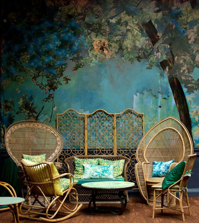 Interior of 'Glade', the bar in West London restaurant 'Sketch', designed by Caroline Quartermaine and Didier Mahieu, inspired by a vintage card...