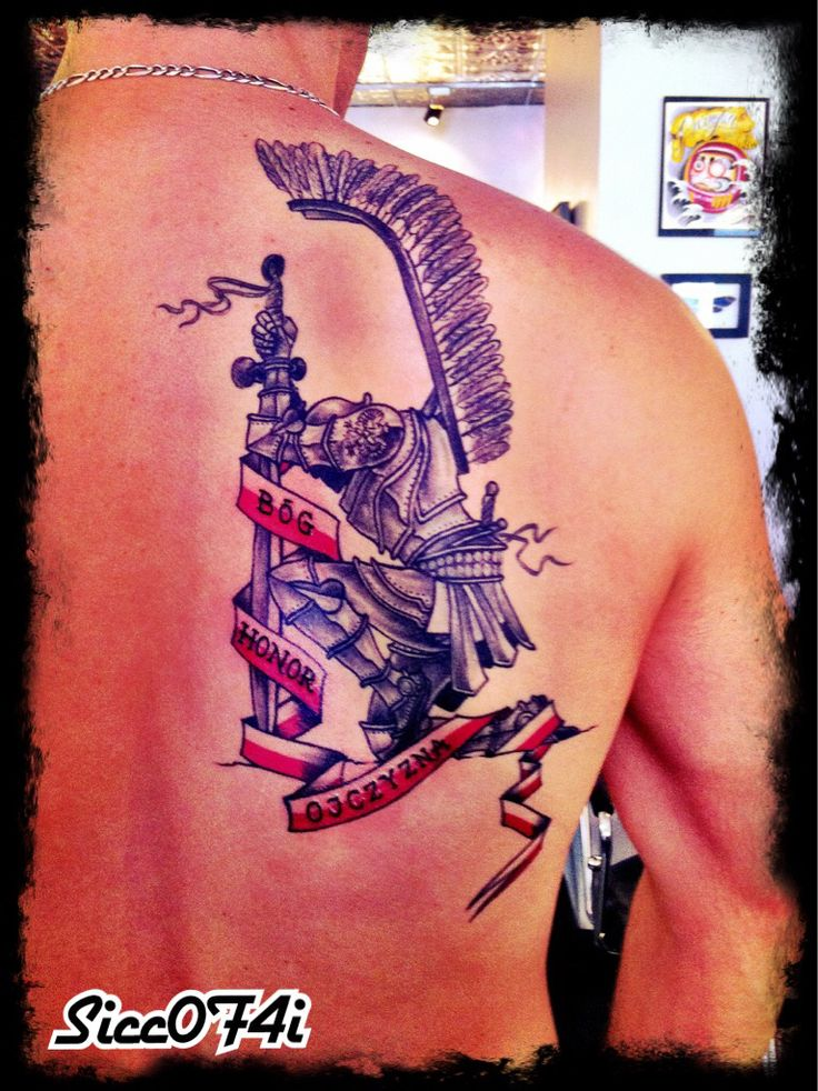 Polish Husar Tattoo by Sweety Bog Honor Ojczyzna (God Honor Fatherland) Patriotic tattoo knight elite cavalry warrior
