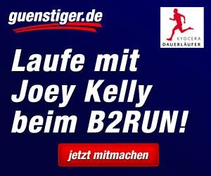 Laufe zusammen mit Joey Kelly beim B2RUN 2013! Wir verlosen je einen Startplatz für Berlin und Stuttgart im Team von KYOCERA sowie ein handsigniertes Trikot. Schnell bei unserem Quiz mitmachen: https://www.facebook.com/guenstiger.de