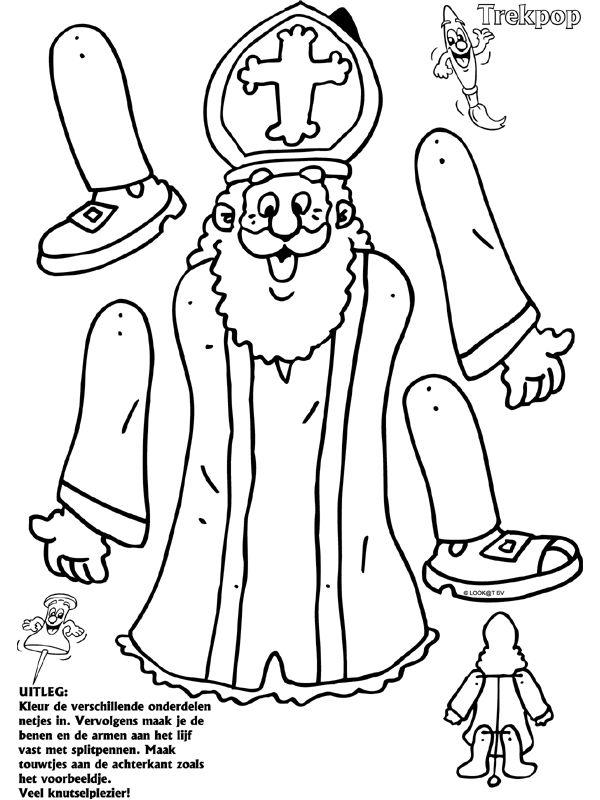 Sinterklaas - Trekpop - Knutselpagina.nl - knutselen, knutselen en nog eens knutselen.