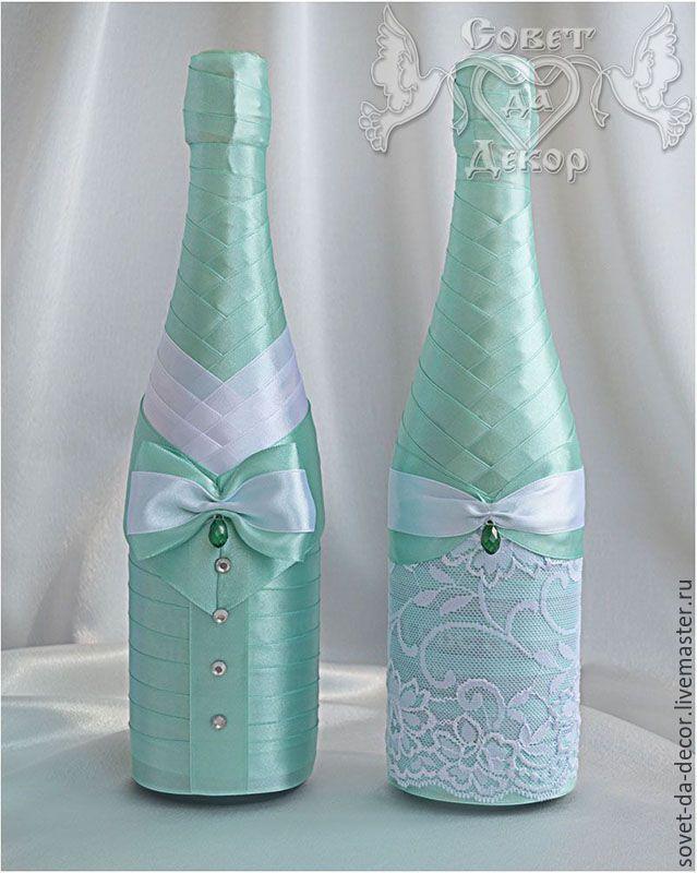 """Купить Украшение свадебных бутылок """"Мятный поцелуй"""". Жених и невеста. - украшение бутылок, свадьба"""