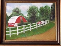 Carmen Diaz-Hardman. Red Barn in Roanoke, AL. Oil. Acworth, GA. 2010
