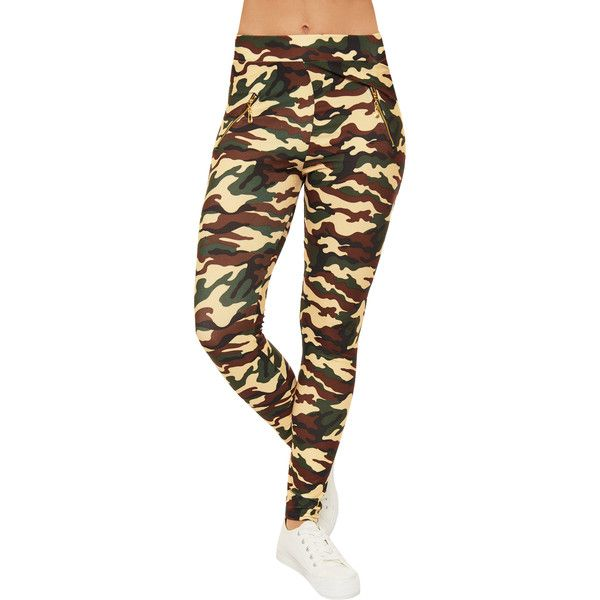 WearAll Camouflage Zip Leggings (£11) ❤ liked on Polyvore featuring pants, leggings, cream, full length leggings, legging pants, camo pants, cream pants and camo print pants