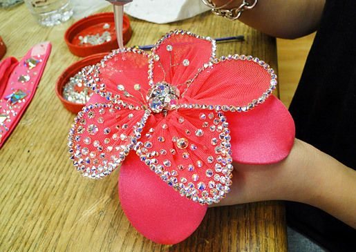 Sondra Celli Bling It On | Blinging an accent flower for a ballroom dancer's costume