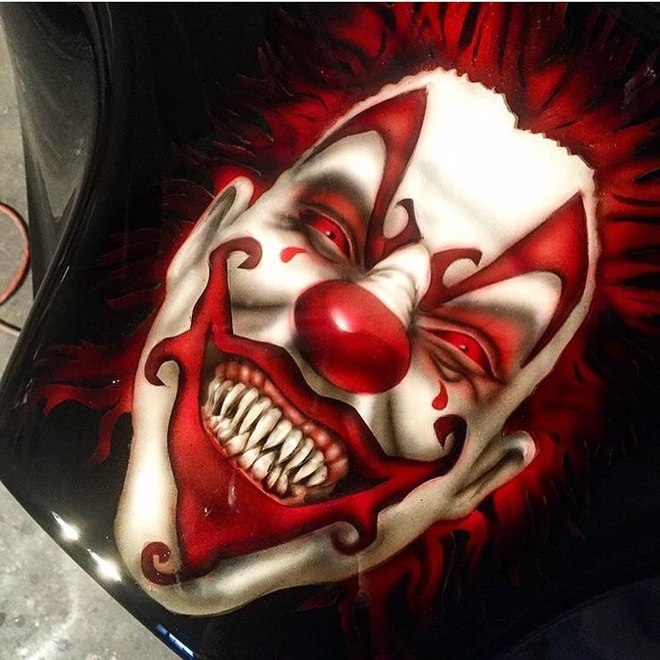 Awesome #airbrushed #clown #graphics done by @airballin #airbrush #artwork